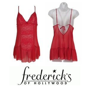 Fredericks of Hollywood S Nightie Red Sheer Lace